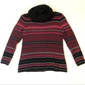 Pendleton Striped Merino Wool Cowl Neck Sweater Sm